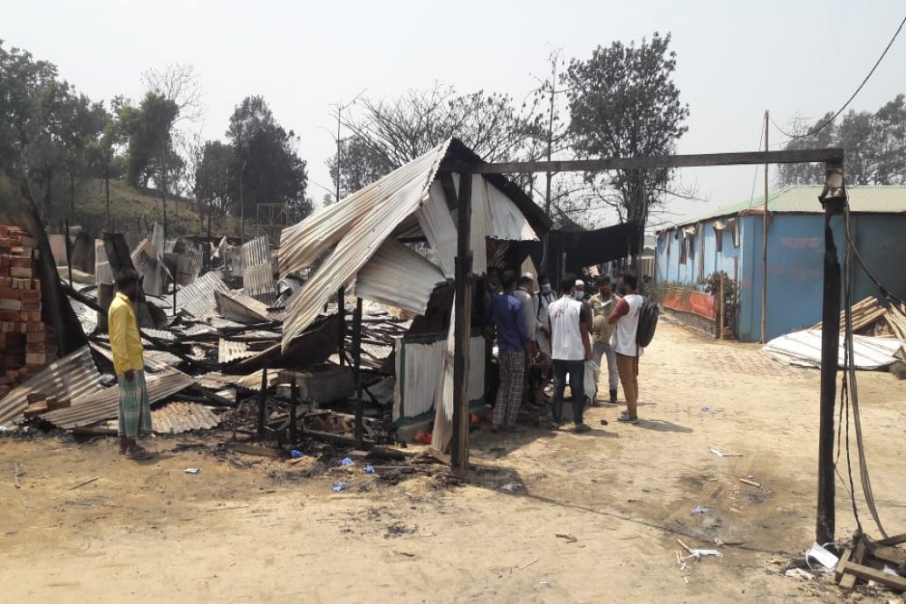 Entrance of Medecins Sans Frontieres' Balukhali cinic after being completely destroyed by the fire that broke out on 22nd March, Monday, 2021. Picture Pau Miranda / MSF.