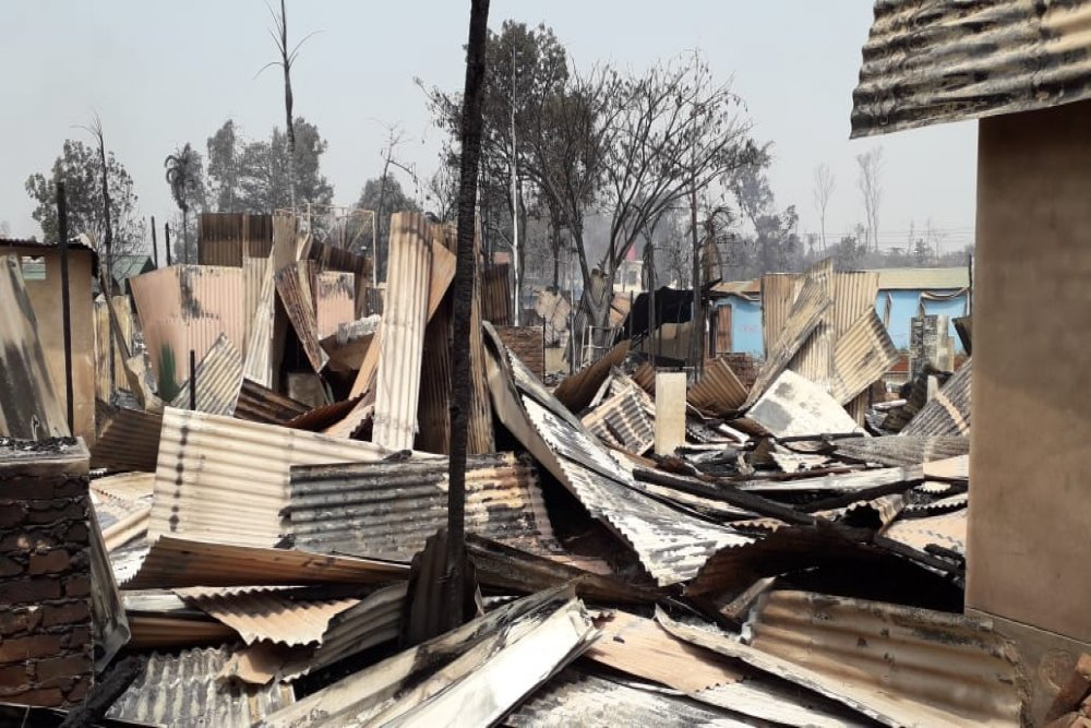 Inside of of Medecins Sans Frontieres' Balukhali cinic after being completely destroyed by the fire that broke out on 22nd March, Monday, 2021. Picture Pau Miranda / MSF.