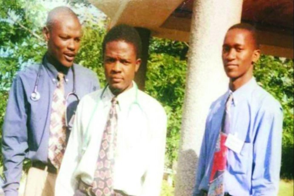 Bern (far right) with fellow students at the University of Malawi's College of Medicine.