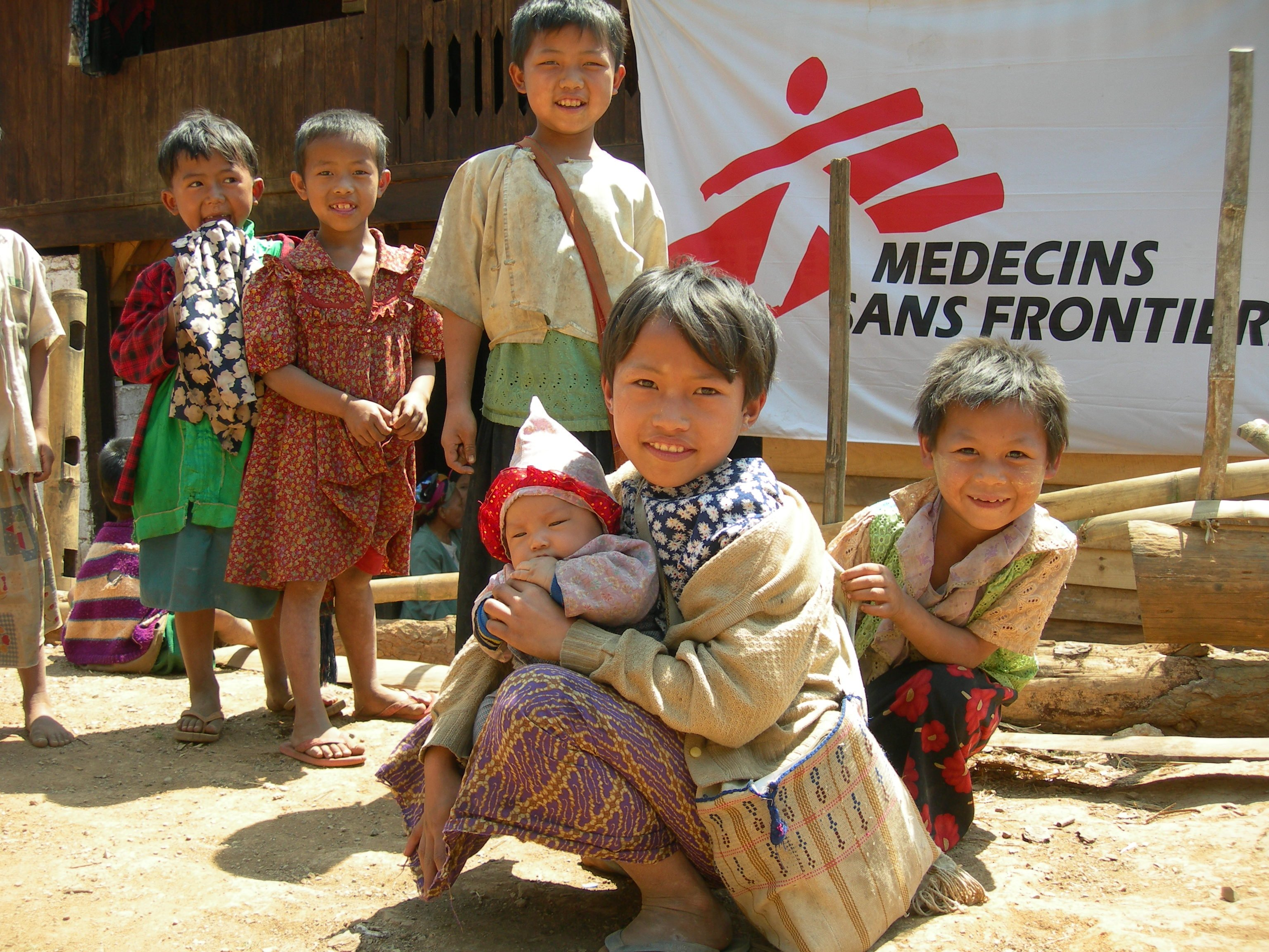 Children outside the Teeseeka clinic, Myanmar