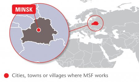 Map of MSF's activities in Belarus, 2015