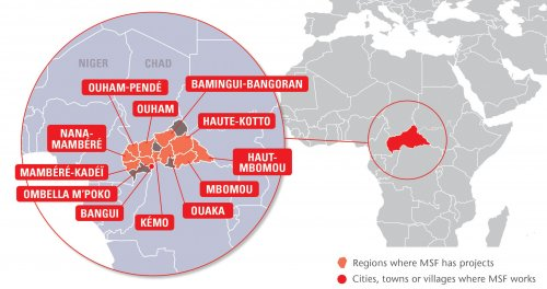 Map of MSF's activities in Central African Republic, 2015