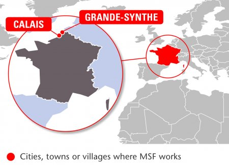 Map of MSF's activities in France, 2015