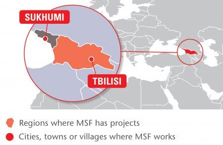 Map of MSF's activities in Georgia, 2015