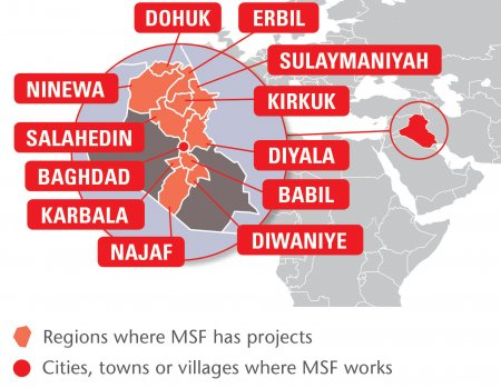 Map of MSF's activities in Iraq, 2015