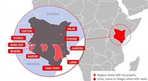 Map of MSF's activities in Kenya, 2015