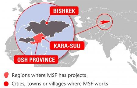 Map of MSF's activities in Kyrgyzstan, 2015