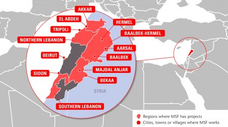 Map of MSF's activities in Lebanon, 2015