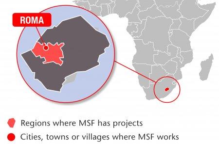 Map of MSF's activities in Lesotho, 2015