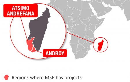 Map of MSF's activities in Madagascar, 2015