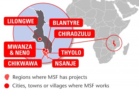 Map of MSF's activities in Malawi, 2015