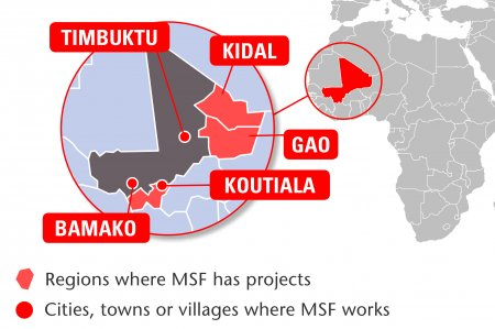 Map of MSF's activities in Mali, 2015