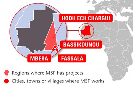 Map of MSF's activities in Mauritania, 2015