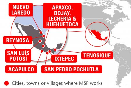 Map of MSF's activities in Mexico, 2015