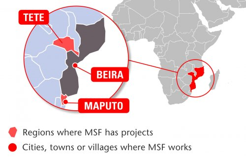 Map of MSF's activities in Mozambique, 2015