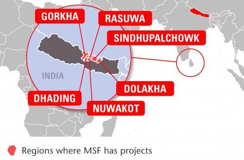 Map of MSF's activities in Nepal, 2015