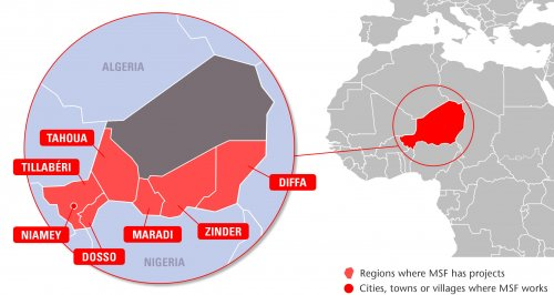 Map of MSF's activities in Niger, 2015