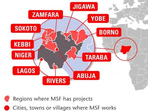 Map of MSF's activities in Nigeria, 2015