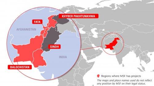Map of MSF's activities in Pakistan, 2015
