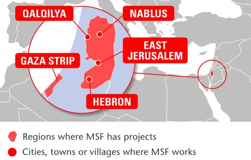 Map of MSF's activities in the Occupied Palestinian Territory, 2015