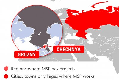 Map of MSF's activities in the Russian Federation, 2015