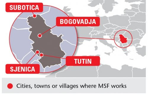 Map of MSF's activities in Serbia, 2014