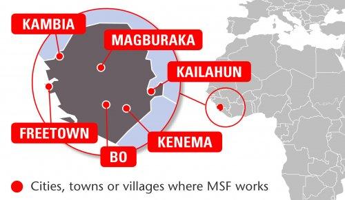 Map of MSF's activities in Sierra Leone, 2015