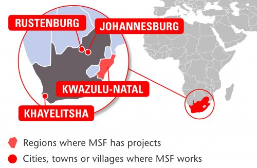 Map of MSF's activities in South Africa, 2015