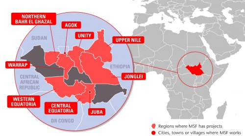 Map of MSF's activities in South Sudan