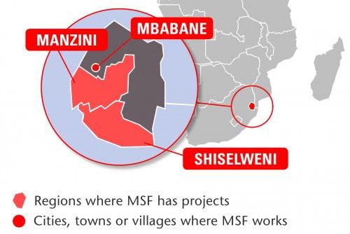 Map of MSF's activities in Swaziland, 2015