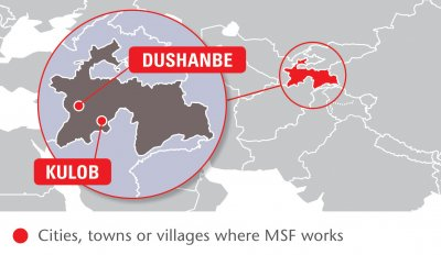 Map of MSF's activities in Tajikistan, 2015