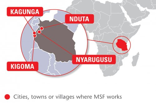 Map of MSF's activities in Tanzania, 2015