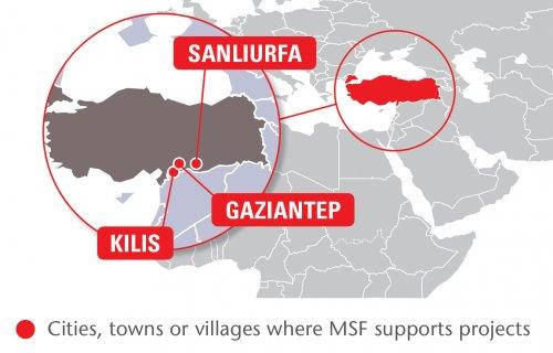 Map of MSF's activities in Turkey, 2015