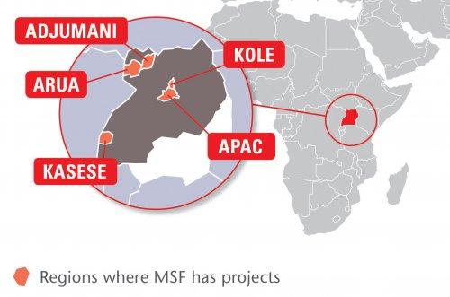 Map of MSF's activities in Uganda, 2015