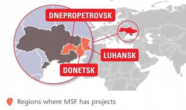 Map of MSF's activities in Ukraine, 2015