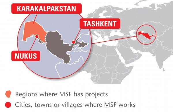 Map of MSF's activities in Uzbekistan, 2015