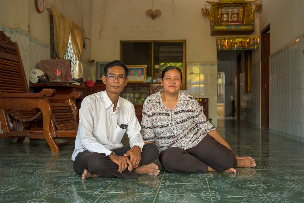 Yoeuth Yoeun (f) and Chamroeun Ros (m) worked alongside one another. After returning to Cambodia, they fell in in love, got married and had children.