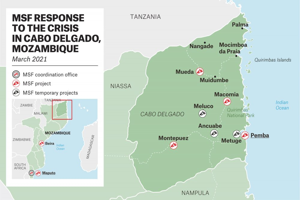 Map detailing the MSF response to the crisis in different localities of Cabo Delgado