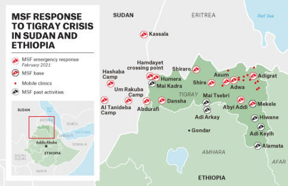 Map detailing the MSF response to the Tigray crisis in Sudan and Ethiopia © MSF