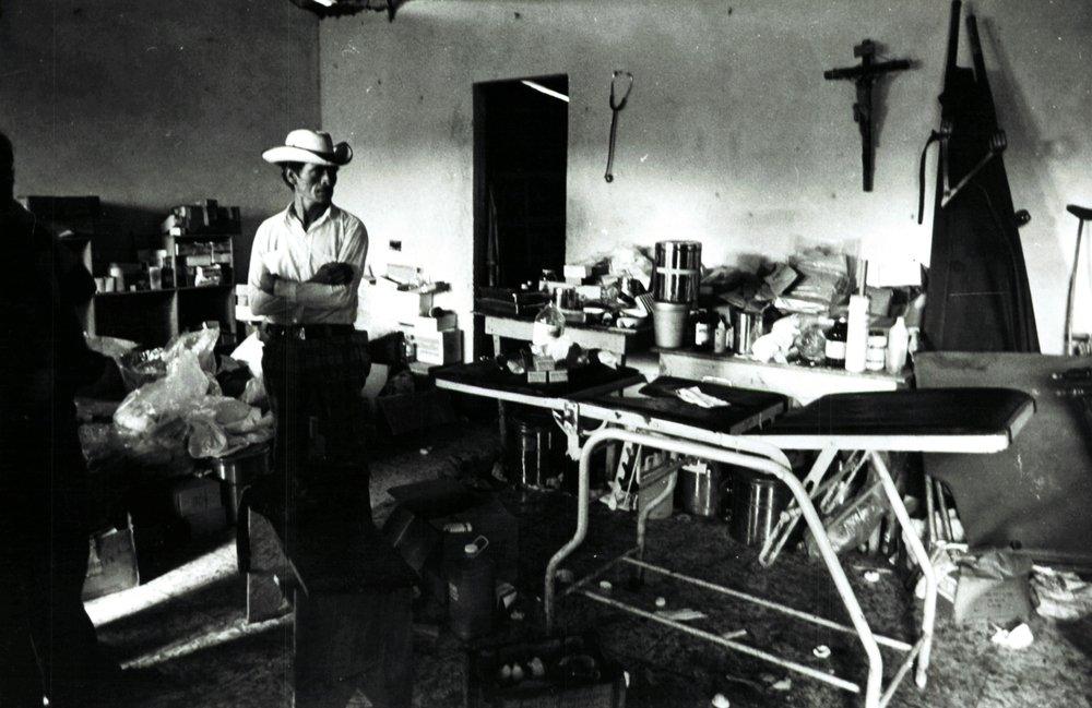 Improvised treatment room, Nicaragua, 1979