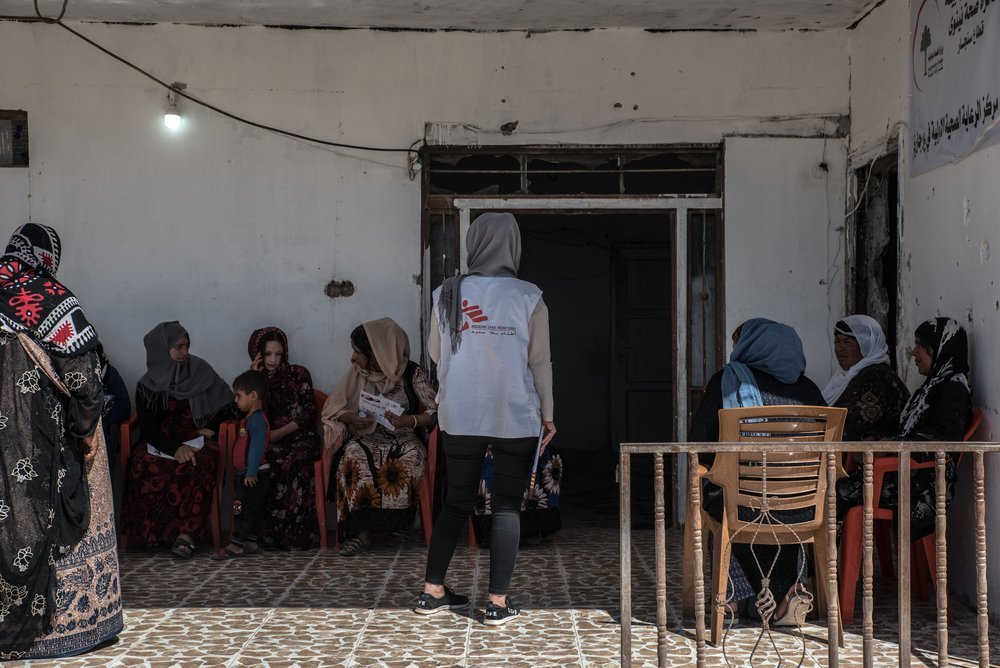 MSF activities in Sinjar District. Women wait outside during a reproductive health consultation on September 4th, 2019.