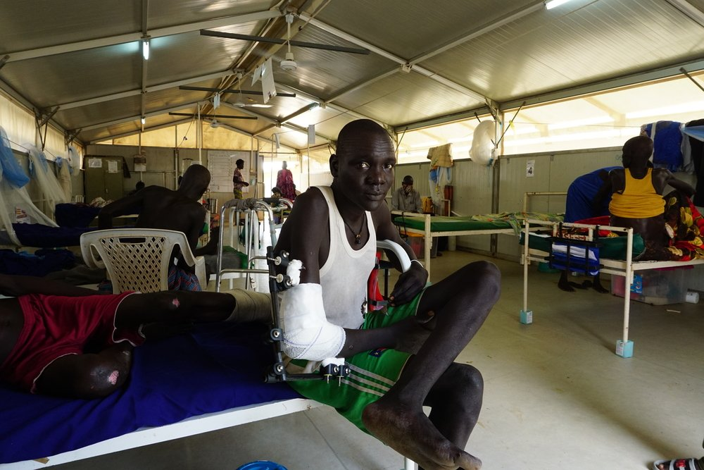 29-year-old Bol from Paniang, Jonglei State is treated in the surgical ward in Bentiu Hospital.
