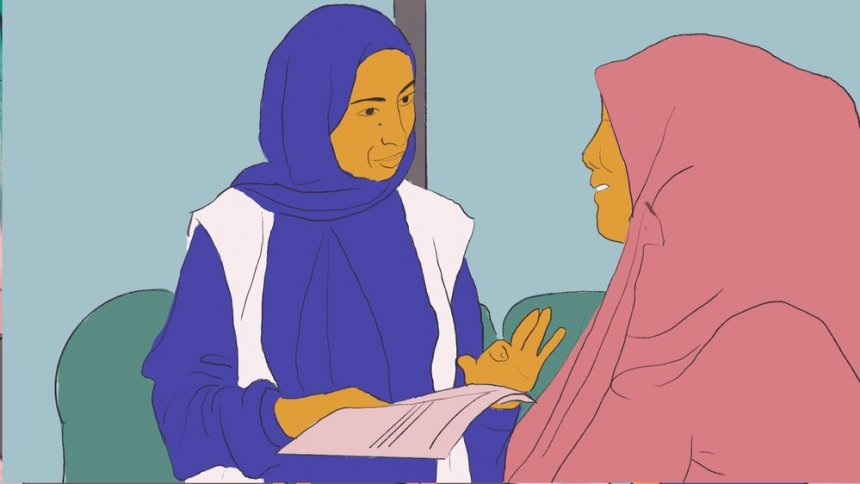 llustration of a patient (right) receiving support from a medical professional.