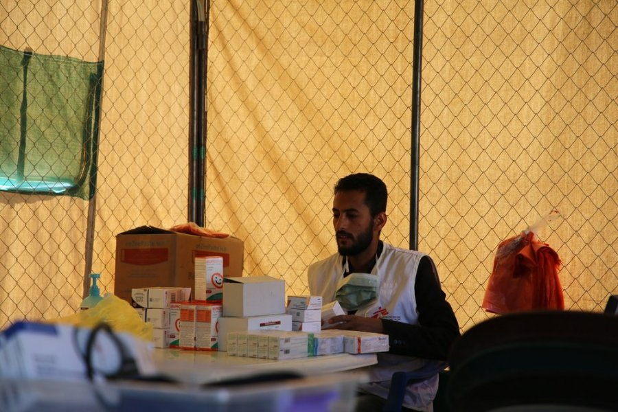 The pharmacy in the MSF mobile clinic in Sabran camp, Marib.