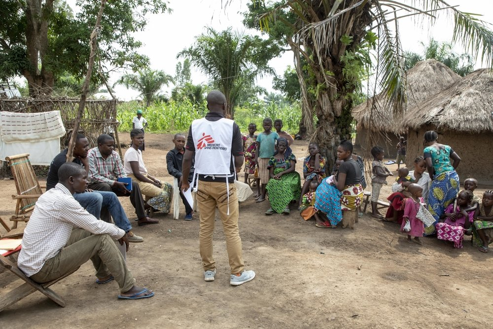 MSF Health Promotion Outreach team visits the communities to raise awareness about Ebola disease and to build a strong and trustly relationship between communities and health workers.