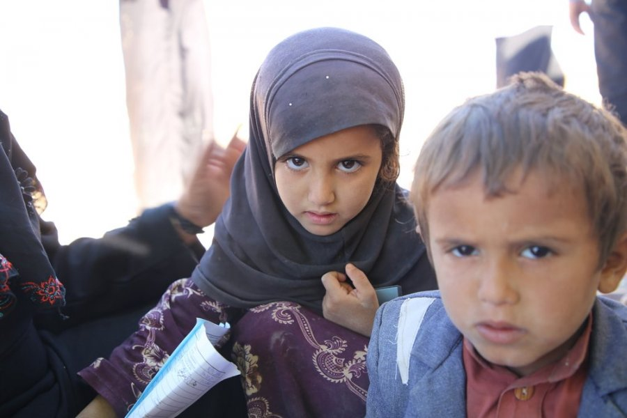 """We have been displaced five times because of fighting and attacks in our area, Nehim in Sana'a, and the last time we were displaced to Al Sweida Camp"", says Um Marzouk. Jadel, three years old, is one of Um Marzouk's children who was born in the camp."