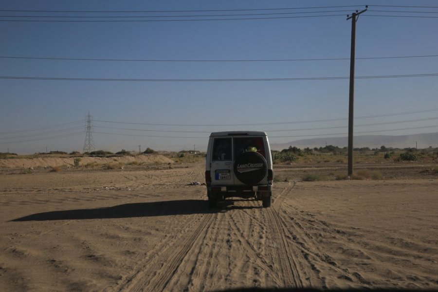 MSF car on its way back from a camp where it provides primary healthcare through its mobile clinics in Marib.