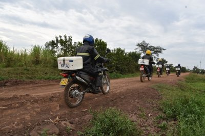 Riders who form part of the sample network of labs riding through one of the areas within Ndhiwa subcounty heading back to their meeting point after a day of hardwork.