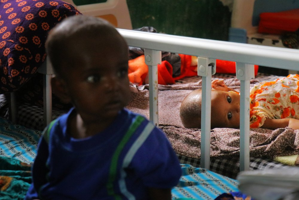 11-month-old Farhiya, daughter of Khadro Ahmed Abdi, in the paediatric inpatient ward at Mudug Regional Hospital in Galkayo city, Mudug region of Somalia.