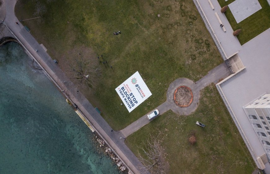Aerial view of the banner deployed by MSF in front of the World Trade Organization (WTO) in Geneva calling on certain governments to stop blocking the landmark waiver proposal on intellectual property during the pandemic. March 04, 2021.